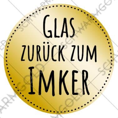 """Sticker """"Glas zurück zum Imker"""" golden"""