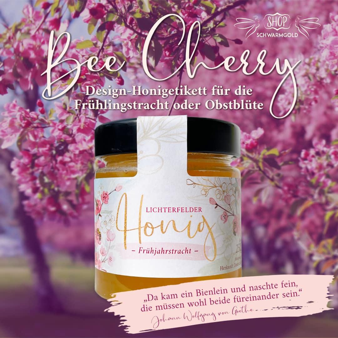 Honigetikett BeeCherry Schwarmgold